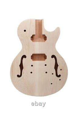 1Set Guitar Kit Guitar Neck 22fret 24.75inch Semi Hollow Guitar Body Maple Cap