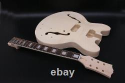 1Set Semi-Hollow Unfinished Electric guitar Neck+Guitar Body Diy guitar project