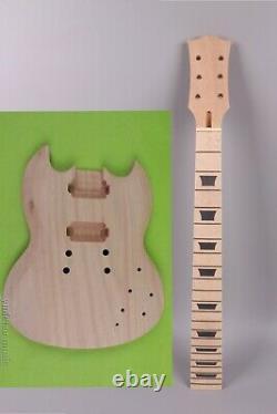 1set Guitar Kit Guitar Neck Body 22Fret 24.75inch SG Style maple Fretboard setin