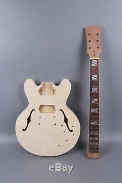1set Guitar Kit Unfinished Guitar Neck 22fret Guitar Body 335 electric Guitar