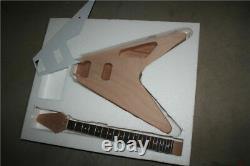 1set Unfinished Electric Guitar Kit 22 Fret Mahogany Guitar Neck Body Flying V