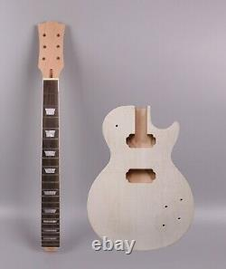 1set Unfinished Electric Guitar Kit DIY Guitar Neck 22Fret Body Set In Guitar
