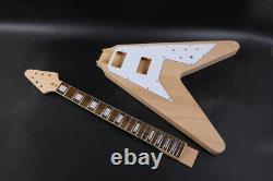 1set guitar Kit 22 Guitar Neck Guitar Body Mahogany Rosewood Flying V Block