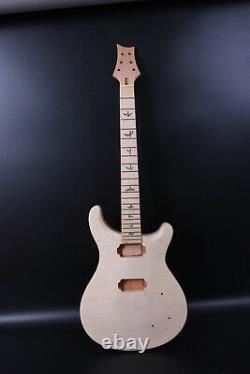 1set guitar Kit Guitar Neck 22Fret Guitar Body Flame Maple Mahogany Set In Heel