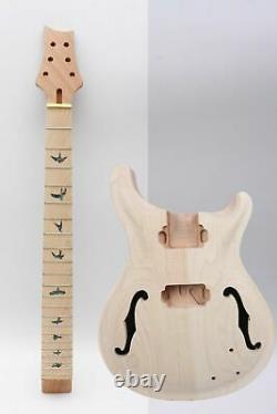 1set guitar Kit Guitar Neck 22fret Semi-hollow Guitar Body Unfinished Bird Inlay
