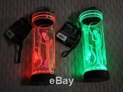 2 New POP LIGHTS Multi-Color 3D Light Up Water BOTTLE Set 22 oz Acoustic GUITARS