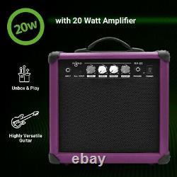 39 Inch Electric Guitar and Amplifier Complete Kit Beginner Starter Set Purple