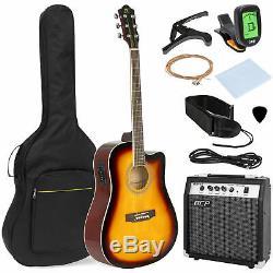 6 String Wood Full Size Acoustic Electric Cutaway Guitar Set 10Watt Amp Case Bag