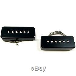 Bare Knuckle P90 Soapbar Braided 2 Bridge Neck Guitar Pickup Set Black Covers