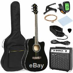 Black Wood Full Size Acoustic Electric Cutaway Guitar Set 10 Watt Amp Case Bag