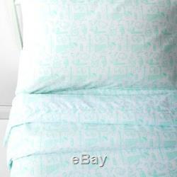 Boy Girl Teen Mint Green Musical Instrument Print Fun Bedding Sheet Set Full NEW