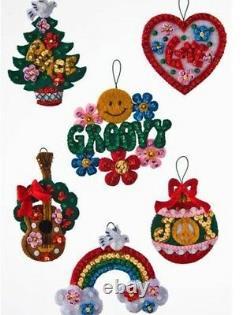 Bucilla LOVE & PEACE SANTA Felt Christmas Ornament Kit Guitar Tree OOP NEW Set-6