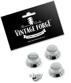 CHROME VOLUME & TONE KNOB SET WithSWITCH TIP FOR FENDER STRAT STYLE GUITARS NEW