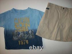 Calvin Klein Short Set 2pc Baby Boy 18 Mos 1978 Guitars Blue Glitter New