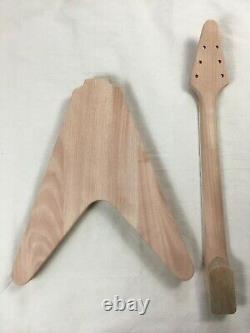 DIY 1 set Guitar Neck & body for Flying V style guitar kit
