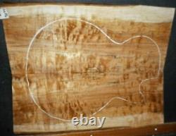 Flame Spalted Curly Maple Wood #9044 Luthier Solid Body Guitar Top set