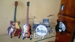 Miniature Guitar, Bass & Drum Set The Beatles Musical Instruments Display Only