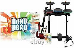 NEW Nintendo Wii Wii-U BAND HERO Super Bundle Kit Game set wireless guitar drums