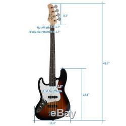 New Basswood Jazz Left Handed Electric Bass Guitar Set for Beginner Sunset