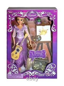New Disney Store Rapunzel Singing 11 Doll Deluxe Set Guitar Tangled Princess