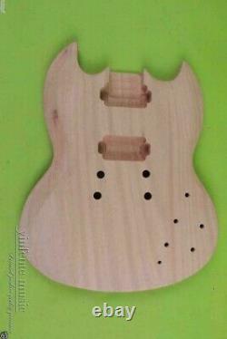 New Guitar body Solid mahogany SG DIY Electric Guitar Set In Heel No Paint