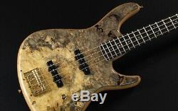 New Ts Guitars Omni Bass 4/22 Exotic/E Buckeye Burl Top F. B. /Set-Neck Natural