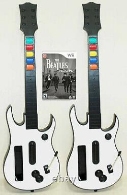 Nintendo Wii Rock Band BEATLES Video Game + 2 WIRELESS GUITARS Bundle Set Kit