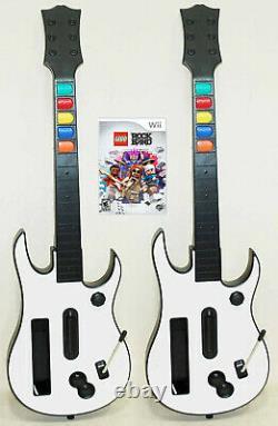 Nintendo Wii Wii-U LEGO Rock Band Video Game + 2 NEW Wireless GUITARS bundle set