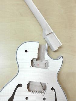 Semi-Hollow Body Electric Guitar DIY, No-Soldering, Set Neck, BK Hardwar 239DIY SMB