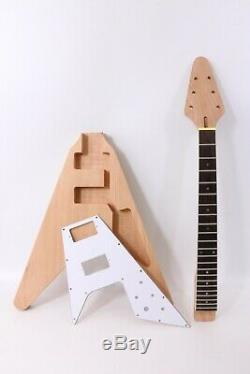Set Diy V Style Electric Guitar Neck+Body Mahogany Diy guitar Project Unfinished