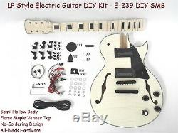 Set Neck Electric Guitar DIY Kit, Semi-Hollow Body, No-Soldering E-239 DIY SMB