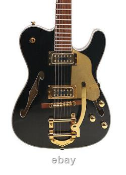 TL Electric Guitar F Hole Semi Hollow Body Set In Joint Gold Hardware Black