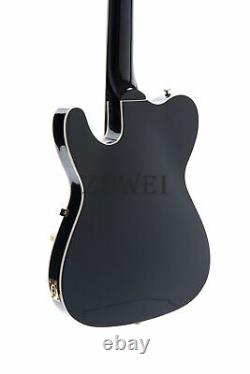 TL Electric Guitar Semi Hollow Body Set In Joint Black Archtop Gold Hardware