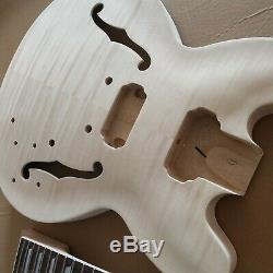 1 Jeu Corps De Guitare Électrique Non Fini Avec Le Cou Es Kit Guitare Pièces 335 Style