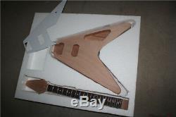 1 Jeu Unfinished Guitare Électrique Kit 22 Frettes Acajou Guitare Corps Du Cou Flying V
