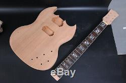 1set Guitar Kit Guitare Corps Cou Guitare Électrique 22 Frettes Touche Palissandre Nouveau