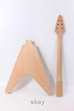 1set Guitar Kit Mahogany Guitar Neck Body Binding Electric Guitar Flying V #1