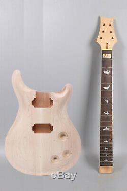 1set Guitare Électrique Kit 22 Frettes Manche Érable Guitare Corps Acajou Unfinished Bricolage
