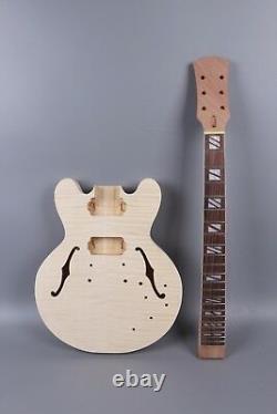 1set Guitare Kit Guitar Body Guitar Neck 22fret 24.75inch Semi Hollow Body 335