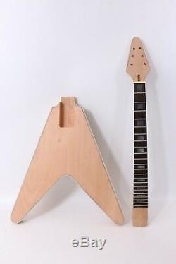 1set Kit De Guitare Acajou Cou De Cou De Corps Reliure Guitare Électrique Flying V # 1