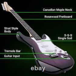 39 Pouces Guitare Électrique Et Amplificateur Complet Kit Débutant Starter Set Violet
