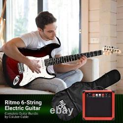 39 Pouces Guitare Électrique Et Amplificateur Kit Complet Débutants Starter Set Rouge