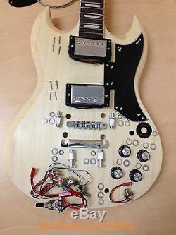 4/4 E-240diy Sg Guitare Électrique De Style De Bricolage Kits, Cou Set, Complet No-soudure