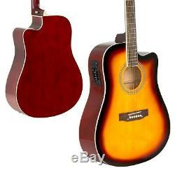 6 Cordes Bois Full Size Acoustic Electric Cutaway Guitar Set 10watt Amp Bag Case