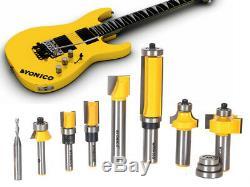 8 Bit Luthier Guitare Électrique Toupie Set Shank 1/2 Et 1/4 Yonico 14801
