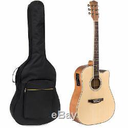 Bcp 41dans Full Size Acoustic Ensemble Électrique Cutaway Guitare Avec Capo, E-tuner, Sac