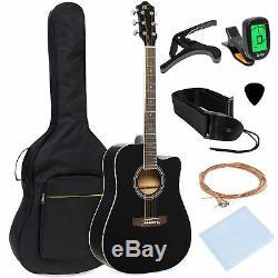 Bcp 41dans Full Size Débutant Set Acoustique Cutaway Guitare Avec Étui, Capo, Tuner