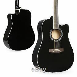 Bcp 41in Guitare Acoustique Pan Coupé Pleine Taille Électrique Avec Ampli De 10 W, Étui