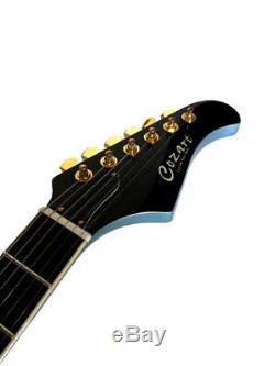Blem 6 Cordes Style Explorer Pelham Blue Guitare Électrique + Étui En Tweed Cou
