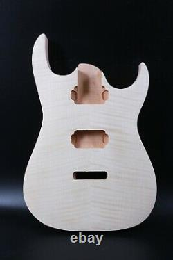 Body De Guitare Bricolage Ahogany Flame Casquette D'érable En Bolt Sur Le Talon Hh Jackson Iba